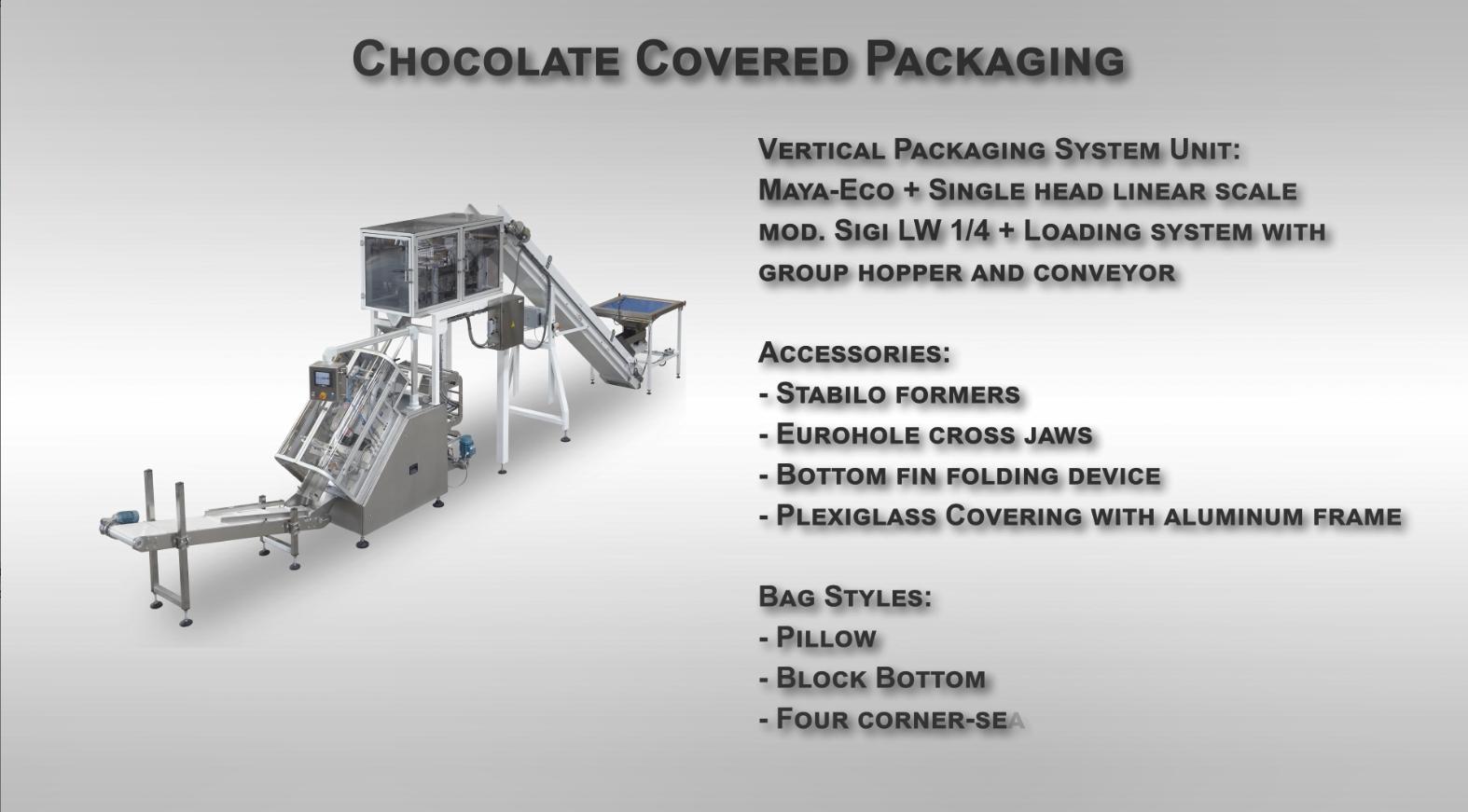 Confezionamento VFFS prodotti ricoperti di cioccolato